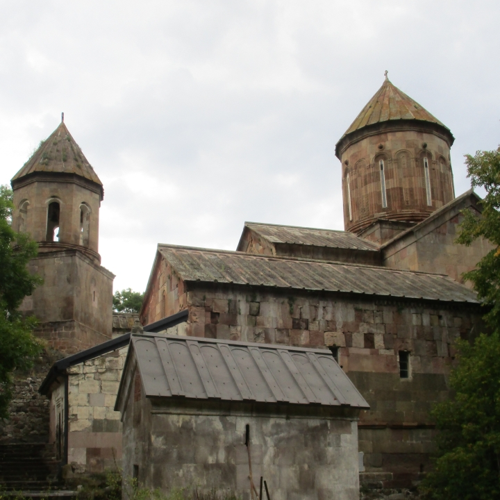 old Georgian-style church buildings at Sapara, Georgia